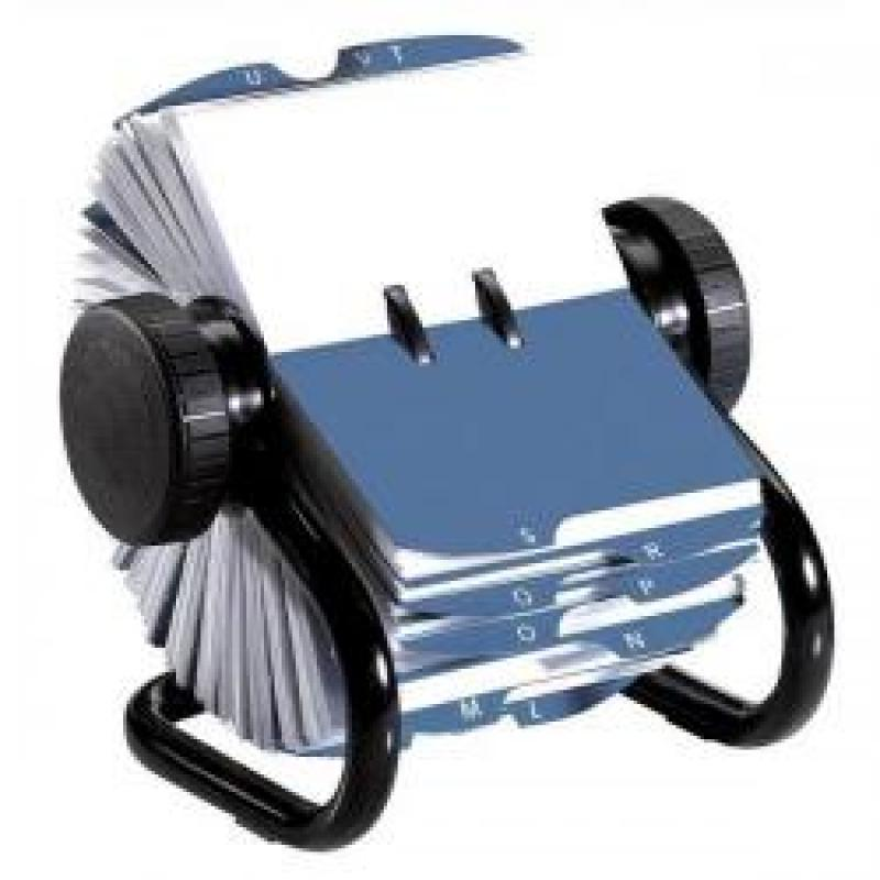 Rolodex Classic 200 Rotary Business Card Index File with 200 Sleeves 24 A-Z Index Tabs Black 67236 S0793780