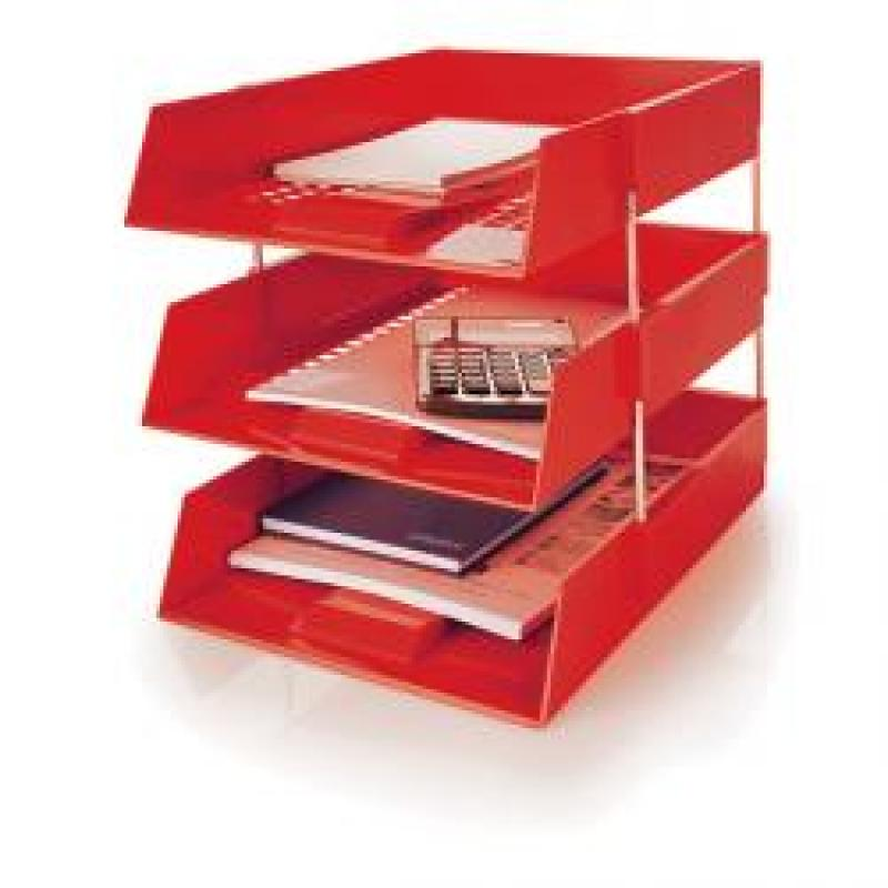 Initiative Plastic Letter Tray Red 255w x 347d x 55h mm