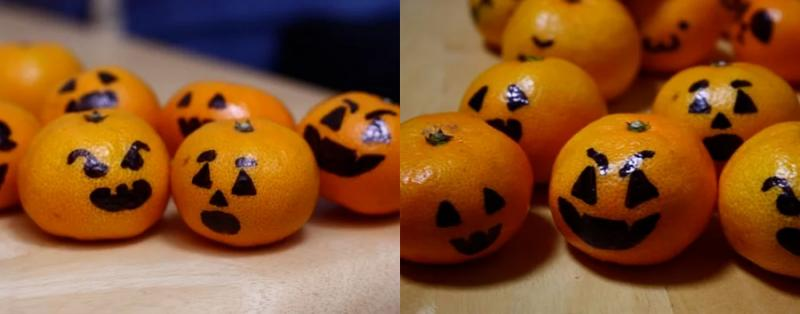 oranges with faces