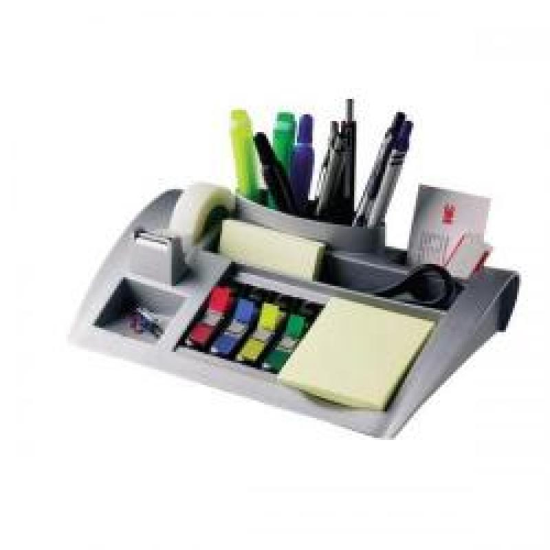 Desktop Organiser Pen Pot Weighted Base (Silver) Single C50