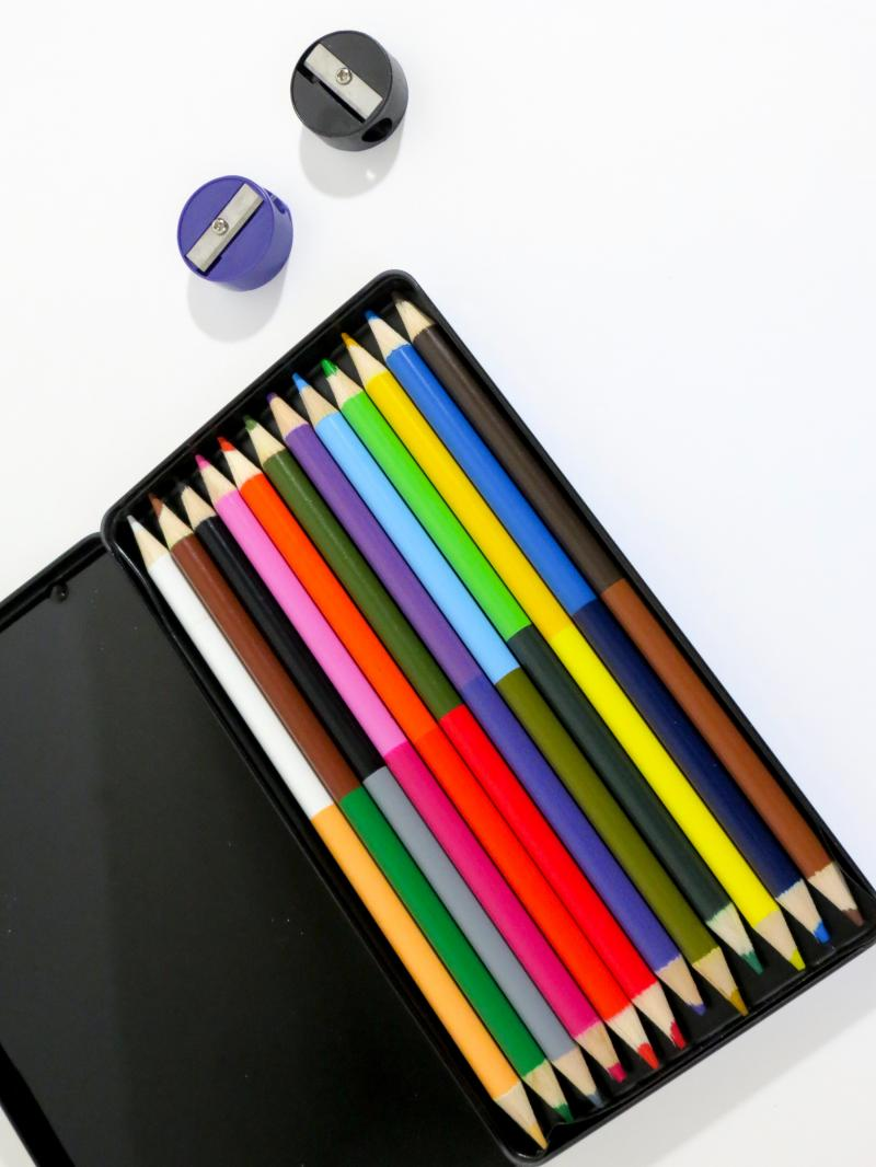 multicolour pencils in metal case