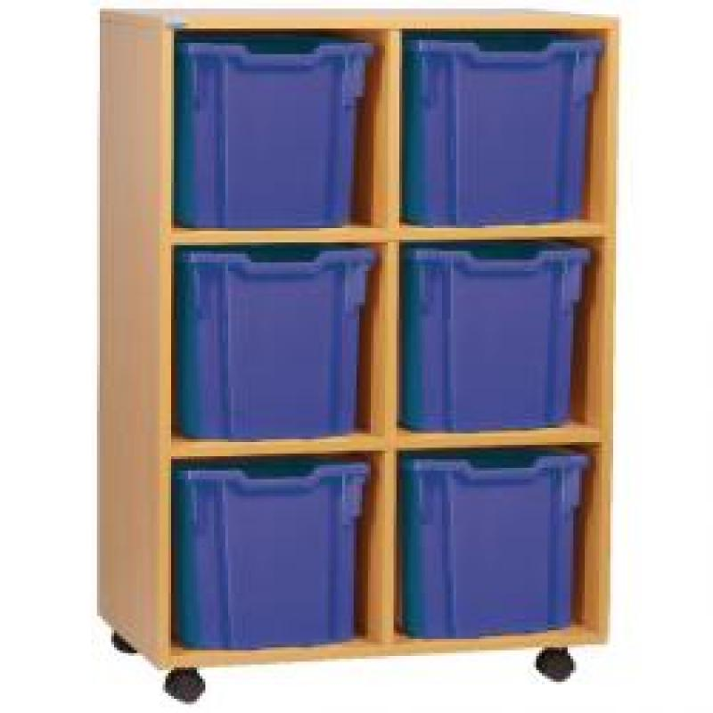 Jemini Jumbo Mobile Storage Unit 6 Tray Beech