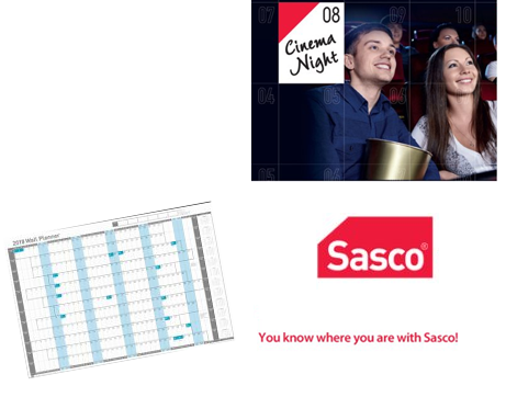 Get Yours Sasco 2018 Unmounted Wall Planner Ref 2401800-2018 2401884