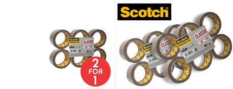 See Deal 3M Scotch Classic 50mm x 66m Packaging Tape Brown Pack of 6 Rolls - OFFER 2 for 1 Oct 2017 CL5066F6B-Q4 Promo