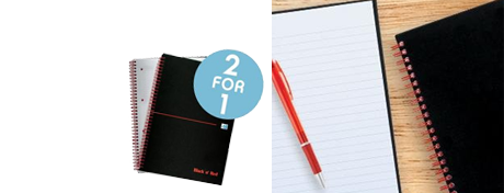 See Deal Black n Red B5 Wirebound Notebook 90g/m2 140 Pages Ruled Hard Back Pack 5 - OFFER Buy One Get One FREE Jan 2018 400099450-XX1218
